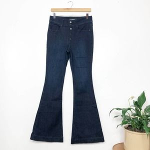 EXPRESS | Dark Wash Bell Flare High Rise Jeans 4R